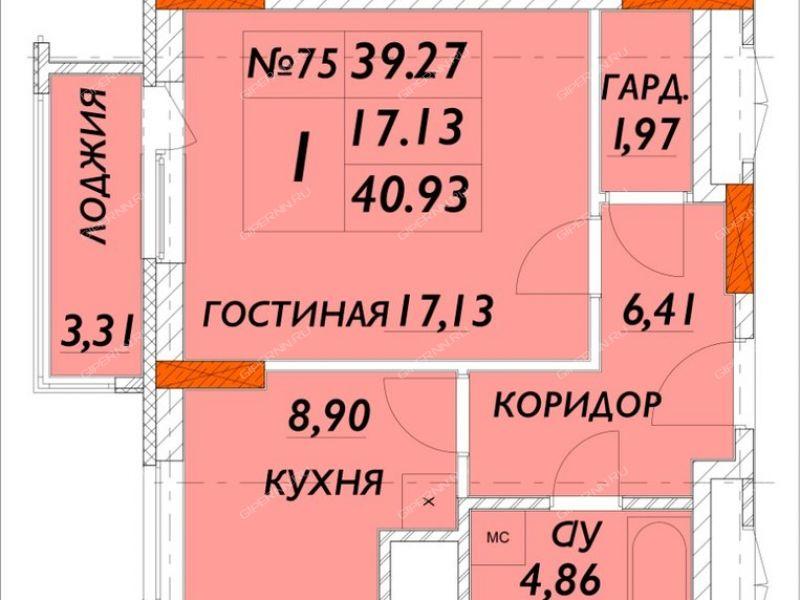 однокомнатная квартира на улице Композитора Касьянова